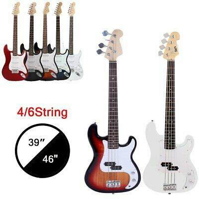 "39-46"" Full Size 4-6 String Electric Bass Guitar+Strap+Cord+Kit Bag Beginner Lot"
