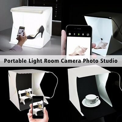 "Mini Photo Studio Photography Tent Kit 9"" Backdrop Cube Box Built-in Light Room"