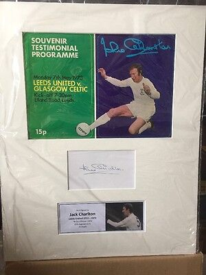 Jack Charlton Hand Signed Photo FA Cup Winner Testimonial Programme Leeds United