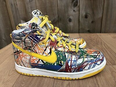new product c3aab d6cd0 ... usa nike dunk hi premium white varsity maize scribble leather trainers  uk 5 eu 38 a252b