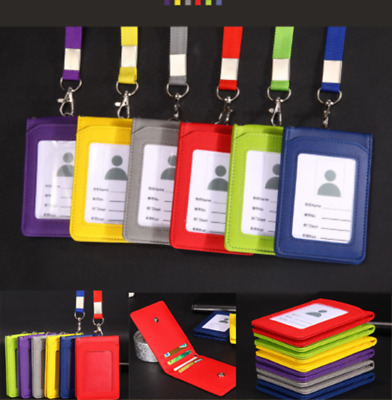 Badge Holder Leather Wallet Credit Card Lanyard 3 Slots Fit ID Card Colors Badge