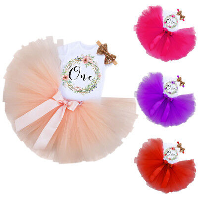 Baby Girl First 1st Birthday Outfit Party Dress Tutu Cake Smash Skirt Headband