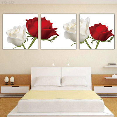 EF84 Red White Rose Wall Picture Canvas Painting 3 Panels Home Decor