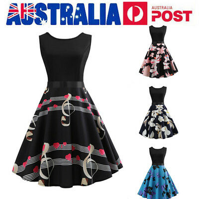 AU Womens 50s Vintage Swing Skater Dress Floral Cocktail Party Formal Dresses