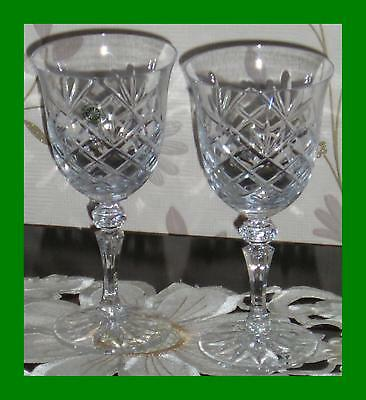 2 Stunning 24% Lead Crystal Galway Irish Crystal Glass Goblets - Unboxed