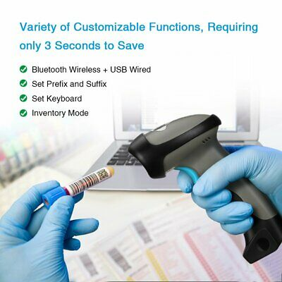 Wireless Bluetooth Barcode Scanner Reader for Apple IOS Android Windows 1D 2D QR