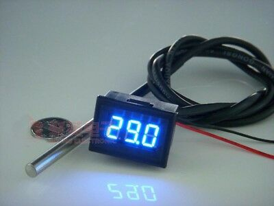 "0.36"" -55-125℃ LED Digital Thermometer Temperature DS18b20 Probe 12V 24V CAR BLU"