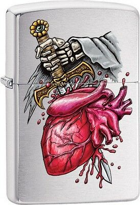 Zippo 012285 Brushed Chrome Goth Heart and Sword Lighter