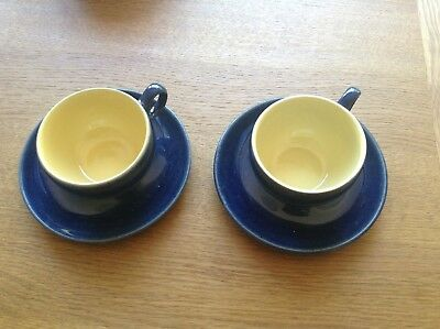 Pair Two Denby Cottage Blue Cups & Saucers Discontinued Excellent Condition