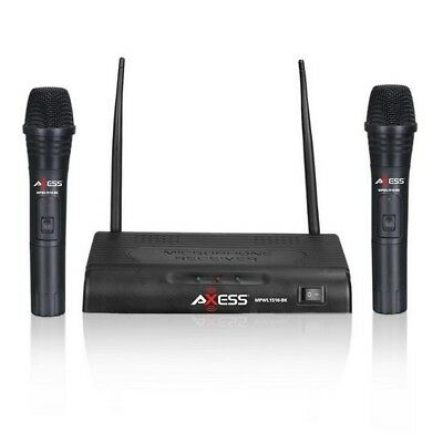 Axess MPWL1510BK Long Range 150ft Wireless Microphone (Include Dual Microphones)