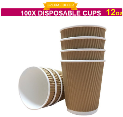 100X 12oz DISPOSABLE CUP BROWN PAPER RIPPLE CUPS PARTY COFFEE TEA SHOP TAKEAWAY