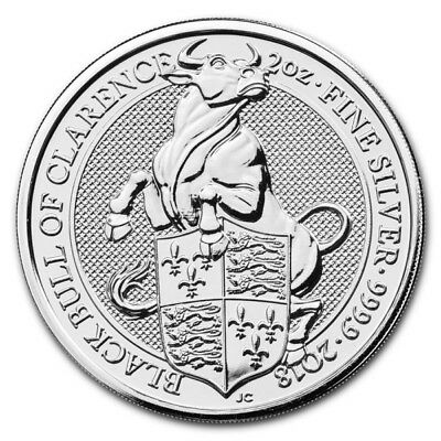 2018 2oz silver Queens Beasts Black Bull of Clarence Bullion Coin