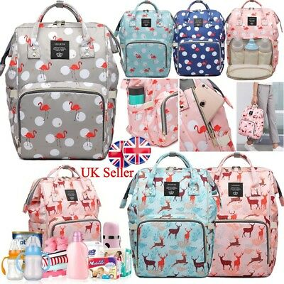 UK Waterproof Mummy Nappy Diaper Changing Bags Flamingo Baby Travel Backpack Bag