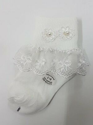 Babies Girl Christening Sock 00 - 12 Baptism Lace Party Formal Dressy GSB White