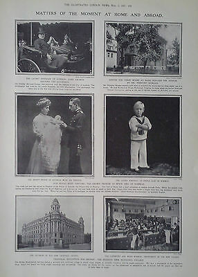 1907 Print Belfast Municipal College-The Crown Princes Of Spain & Norway