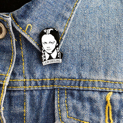 Adams Family I Am Smiling Wednesday Girl Cool Brooch Enamel Lapel Pins Jewelry