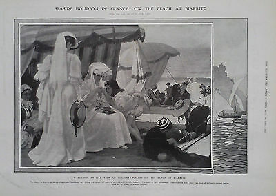 1907 Print A Spanish Artist's View Of Holiday Makers On The Beach At Biarritz