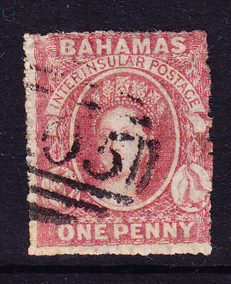 BAHAMAS QV 1861 SG4 1d lake - rough perf 14-16 - no wmk - fine used. Cat £325