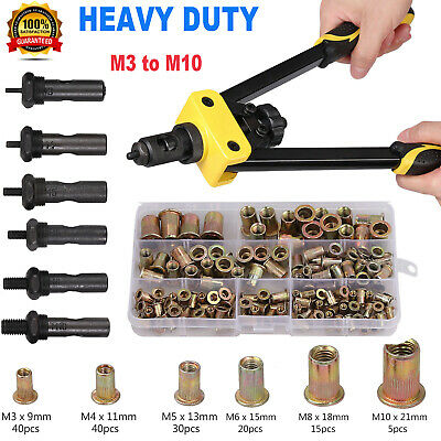 Professional Pop Rivet Gun Kit Heavy Duty Hand Riveter Set & 200PCS Rivets