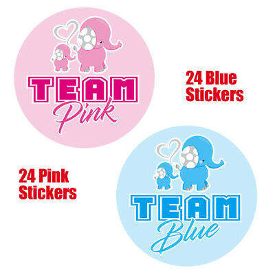 48 x GENDER REVEAL BABY SHOWER PARTY TEAM BLUE PINK Game Stickers Labels 1004