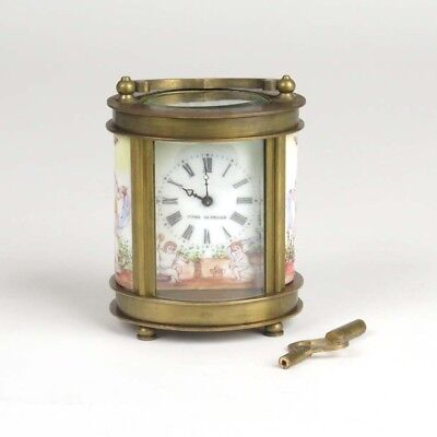 Antique French carriage clock brass miniature painted porcelain