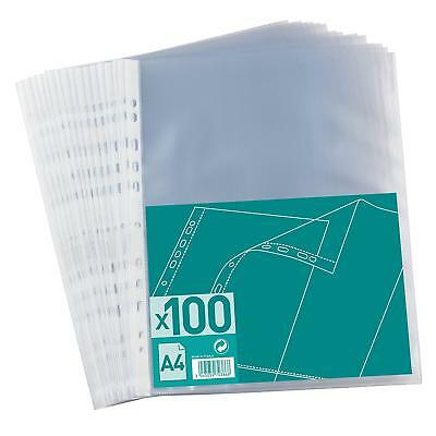 100x A4 Plastic Punched Pockets Filing Folders Wallets Sleeves value 55 micron