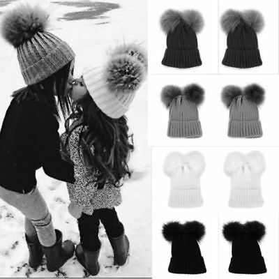 Kid Child Baby Boys Girls Beanie Hat Cap Winter Warm Double Pom Pom Bobble  Knit e7e7e46e7483