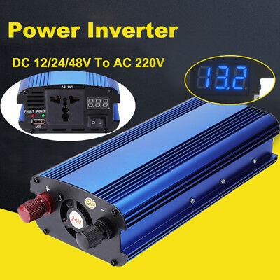 5000W Pure Sine Wave Power Inverter Reverse Polarity DC 12/24/48V To AC 220V