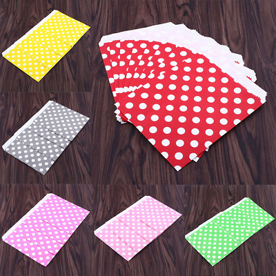 891E 25X Polka Dot Birthday Sweet Candy Favour Popcorn Treat Paper Party Bags 6C