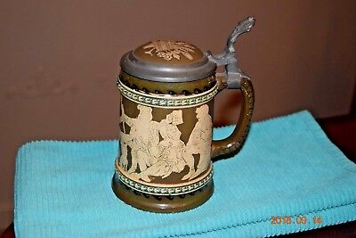 Antique Etched Gerz German Beer Stein, Gnomes Celebrating, Inlaid Lid, Ca. 1900