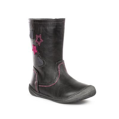 Chatterbox Girls Black Embroidered Calf Boot - Sizes 7,8,9,10,11,12