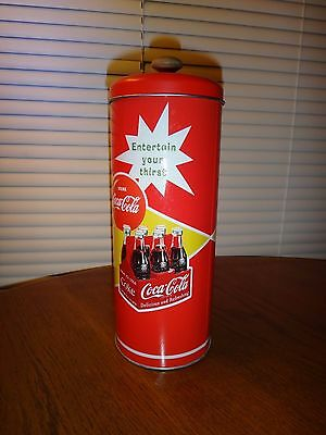 """Coca Cola Retro Style Tin Straw Red Metal Container With Lid & Straws 8.5"""" High"""