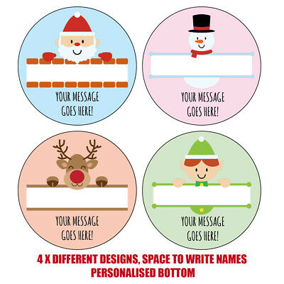 Personalised Christmas Stickers gift tags xmas parcels presents santa label 1005