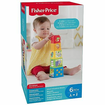 Fisher Price Stack & Explore Blocks Nest Colours Characters Baby Discovery Learn