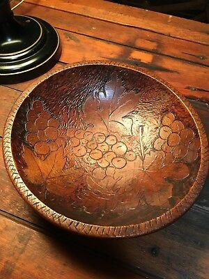 Antique PyrographyBowl Grapes and Leaves Dated1904Initialed SMB