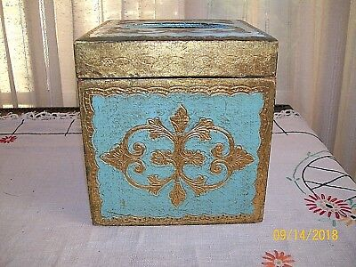 Vintage Italian Florentine Gold and Blue Tissue Holder/ Square-Hinged Top / Used