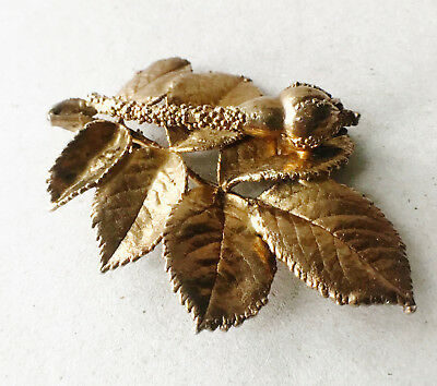 Large Solid silver and gilt brooch FLORA DANICA DENMARK STERLING
