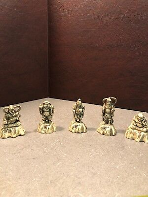 JAPANESE RESIN / PLASTIC NETSUKE ASIAN FIGURINES COLLECTIBLES LOT Of 5 Vintage