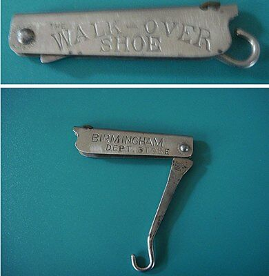 Antique Advertising Shoe Boot Folding Button Hook: WALK-OVER SHOE Birmingham MI