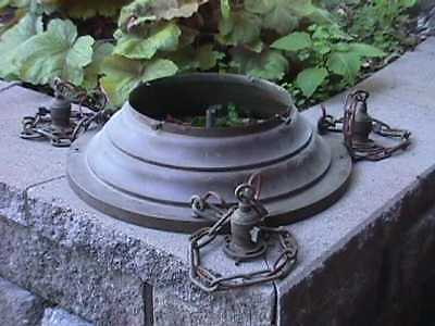 LARGE Solid BRASS Antique FIXTURE Center Dome PARTS +3 Sockets +BRASS Chains (5)