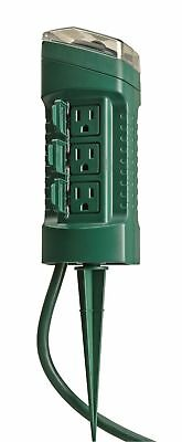 Woods 13547WD Outdoor Yard Stake with Photocell and Built-In Timer 6 Outlets