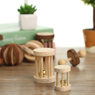 Playing Slat Ball & Bell Small Animal Wooden Toy Hamster Rat Guinea Pig Rabbit