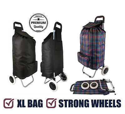 Deluxe Pull Along 2 Wheel Shopping Trolley with XL Capacity Bag & Strong Wheels