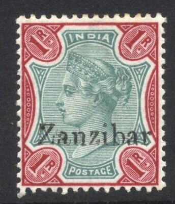1896 Zanzibar QV 1r SG 18 Mint Hinged Cat £21.00