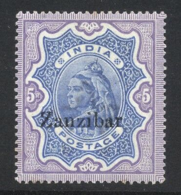 1895-96 Zanzibar QV 5r SG 21 Mint Hinged Cat £100