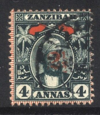 1897 Zanzibar 2½ on 4a SG 177 Used Cat £80.00