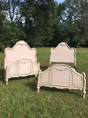 Pair Antique Twin Beds Chalk Painted 1920's Wood Vintage