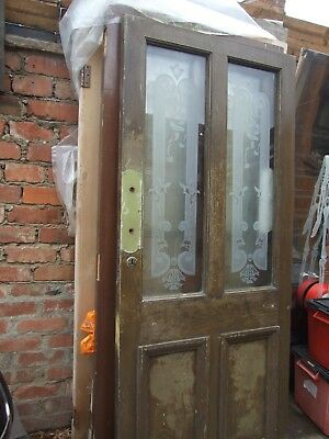 A  Matching Pair Of Pub  Etching  Glass Panel Hard Wood Doors