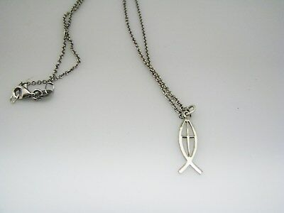 """c778 Vintage Sterling Silver Chain with Cross/ Fish Pendant Necklace 16"""" Long"""
