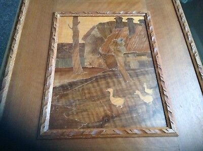Arts and Crafts, marquetry panel, Rowley gallery w a chase the duck pond